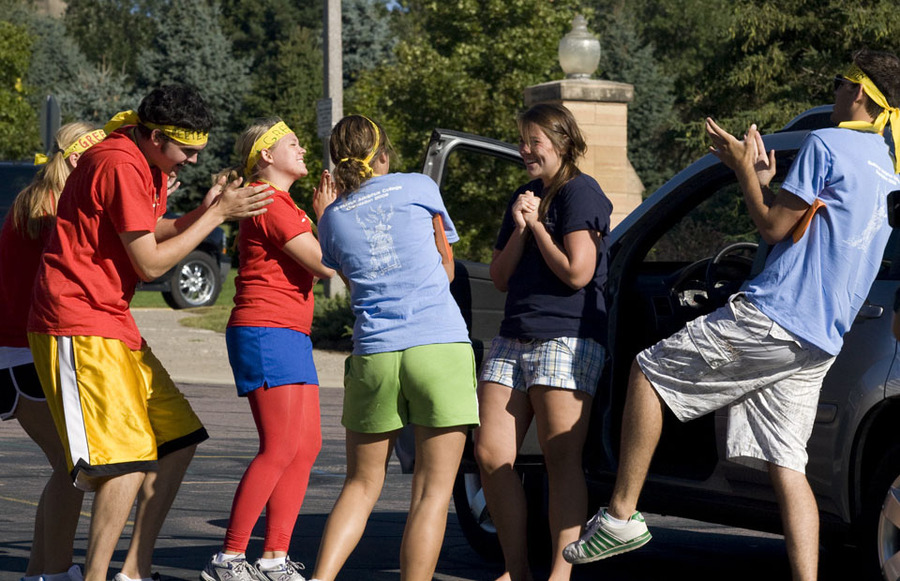 The Gustie Greeters enthusiastically welcomed 635 first-year students to campus on Friday, Aug. 29.