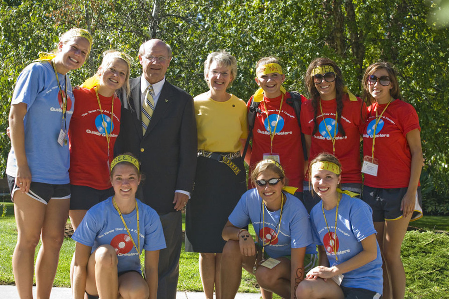 President Jack R. Ohle and his wife Kris with a group of Gustie Greeters.