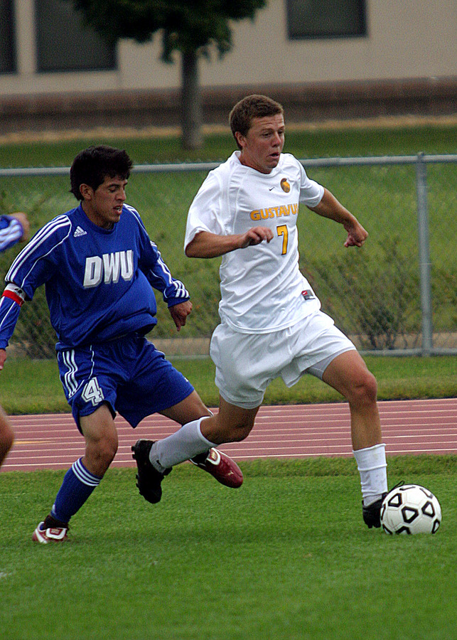 Max Malmquist beats a Dakota Wesleyan defender down the left wing.