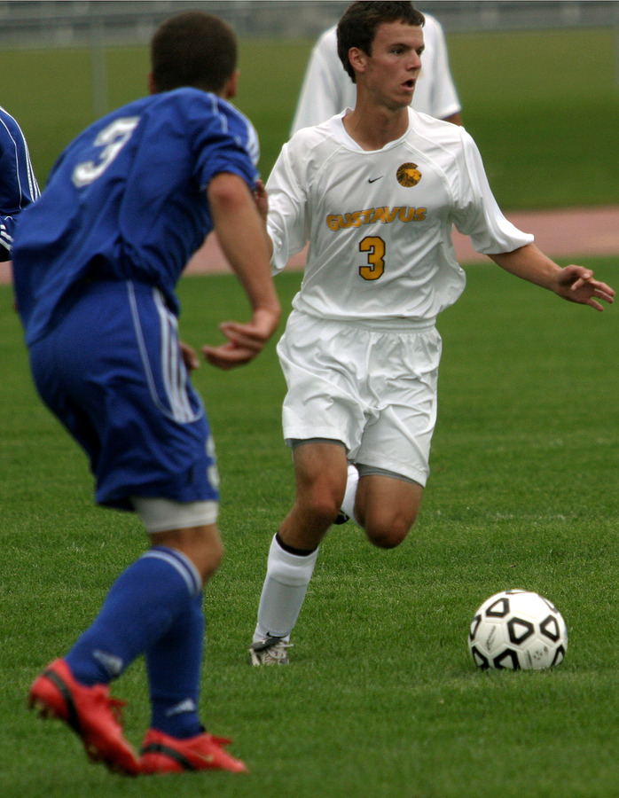 Doug Frey, shown here with the ball in the midfield, scored his first collegiate goal in the match.