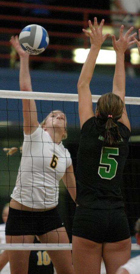 Meghan Gehring hits around a North Dakota block.