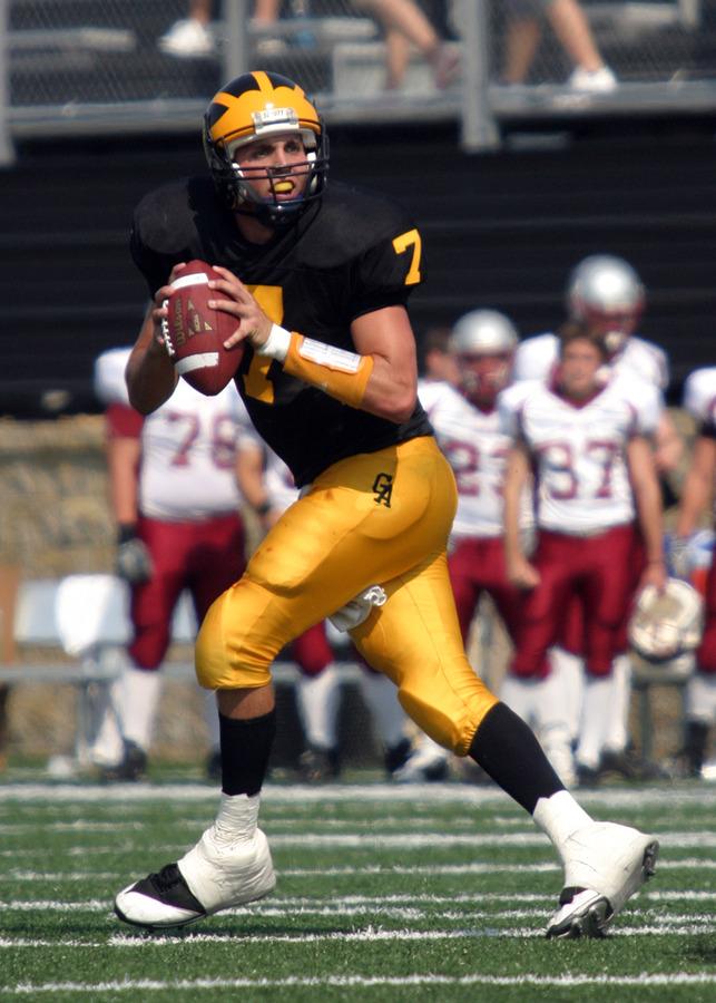 Quarterback Jordan Becker drops back to find a receiver.