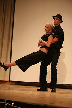 Director of Student Activities Megan Ruble and student Luke Garrison compete in last year's Dancing With the Profs.
