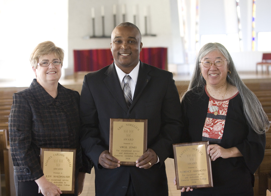 Pictured from left to right are Judy Waldhauser, Virgil Jones, and Florence Amamoto.