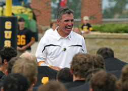 Football coach Jay Schoenebeck has been on the Gustavus sidelines for 15 years as head coach.