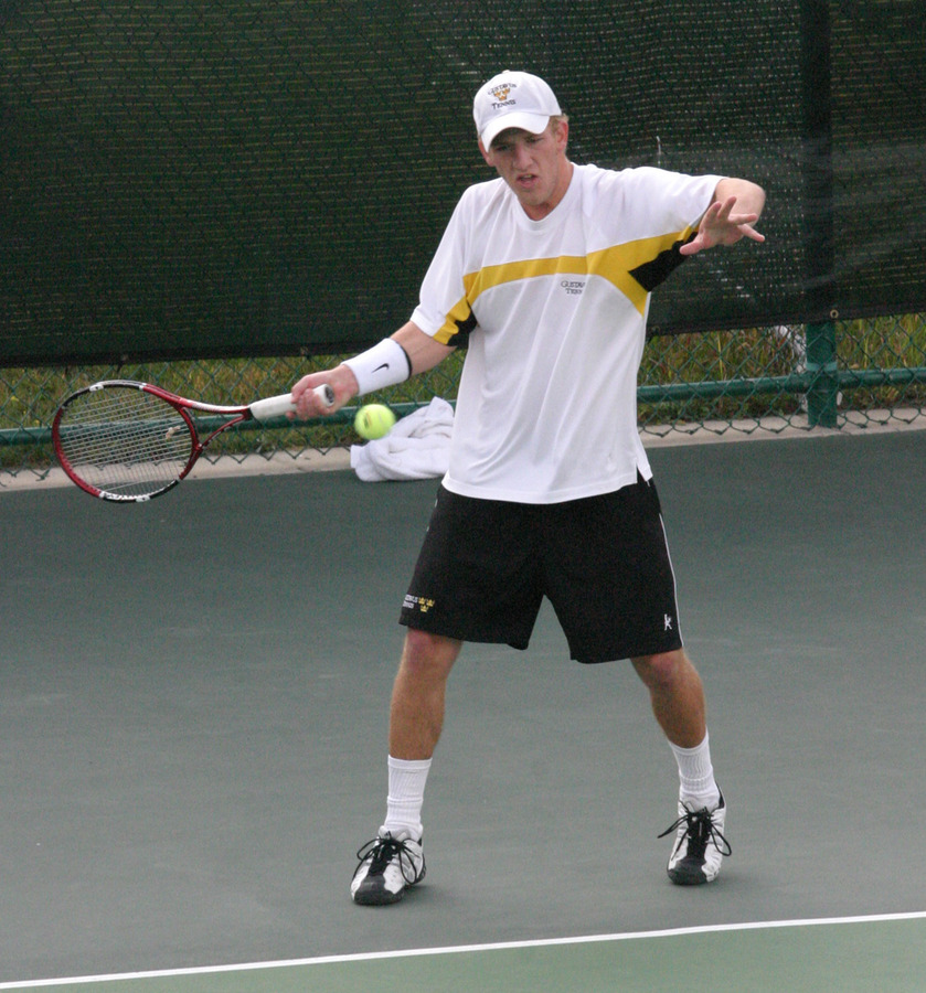 Kauss in action at the ITA Midwest Regional Tournament.