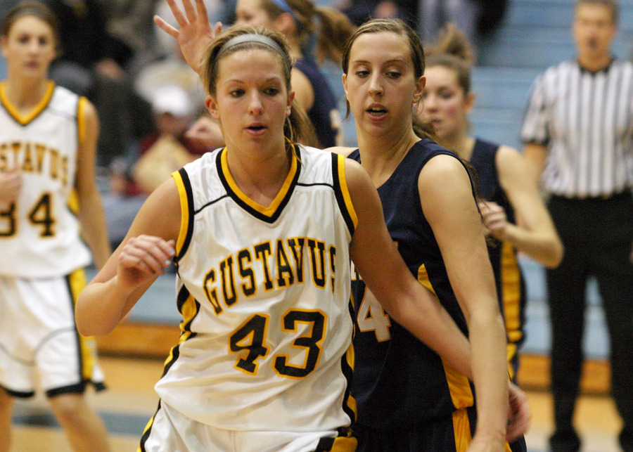 Junior Katie Layman posts up for two of her 19 points.