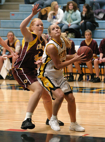 Emily Nelson drives for two of her 20 points.