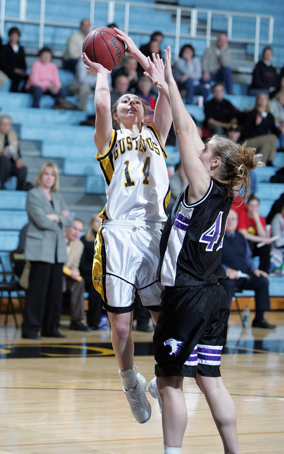 Julia Schultz goes up for two of her 17 points against St. Kate's. (photo by A.J. Dahm, SportPix)