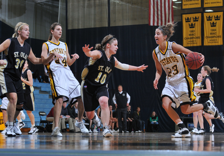 Molly Geske brings the ball up the floor.  (Photo by Brian Fowler, SportPix)