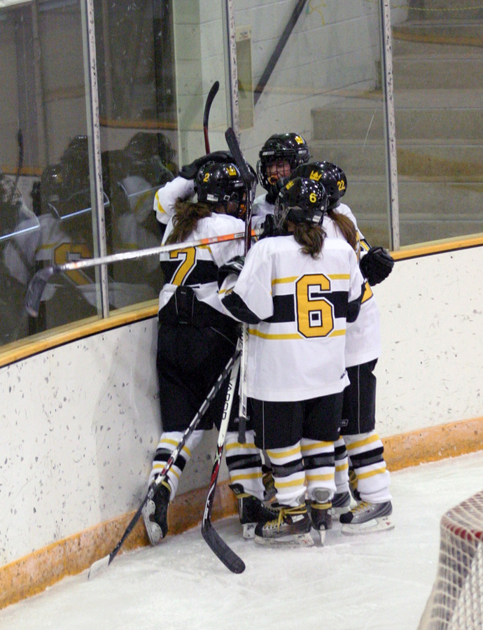 The Gusties celebrate Laura Hillman's goal in the second period.