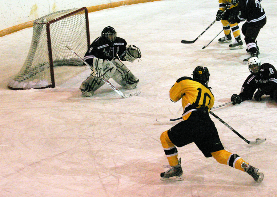 Ross Ring-Jarvi passes to David Martinson to put the Gusties ahead 3-2.