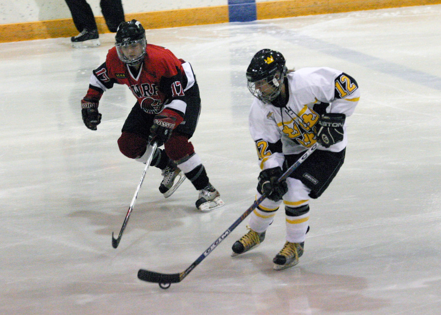 Jessie Doig skates the puck into the Falcons zone.