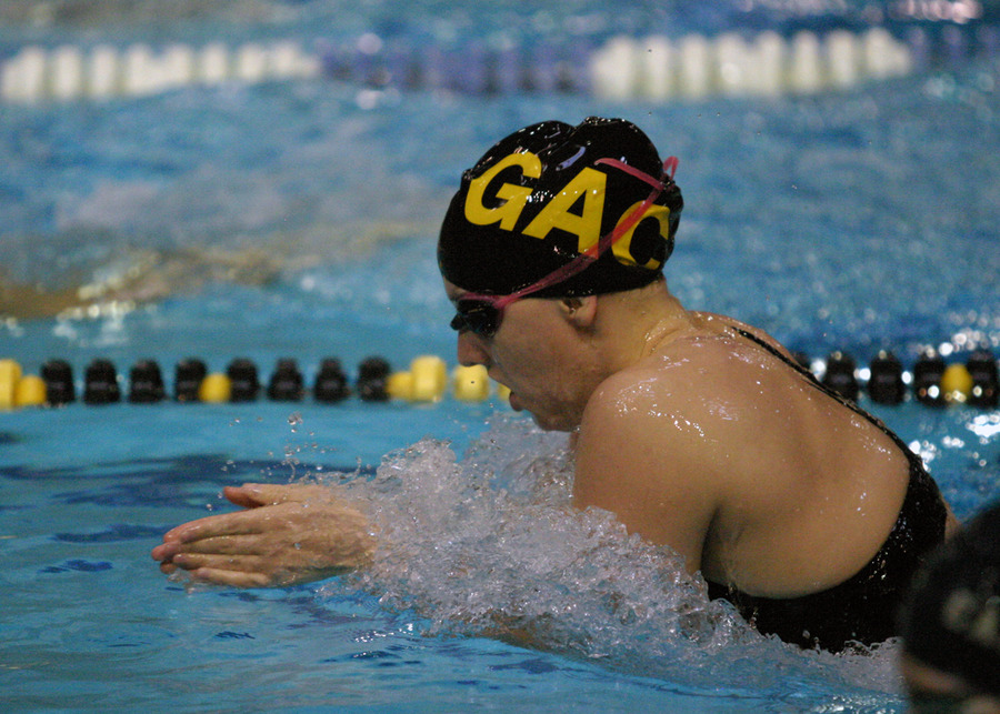 Anika Erickson heads for the finish line in the breaststroke.