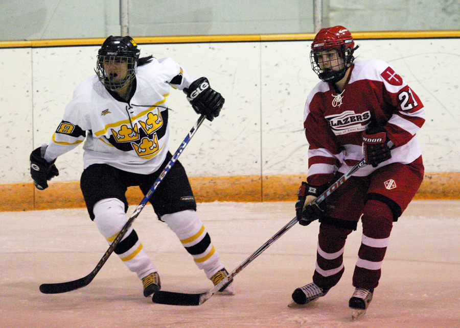 Nara Higano skates alongside Katelyn Bounds of St. Ben's.
