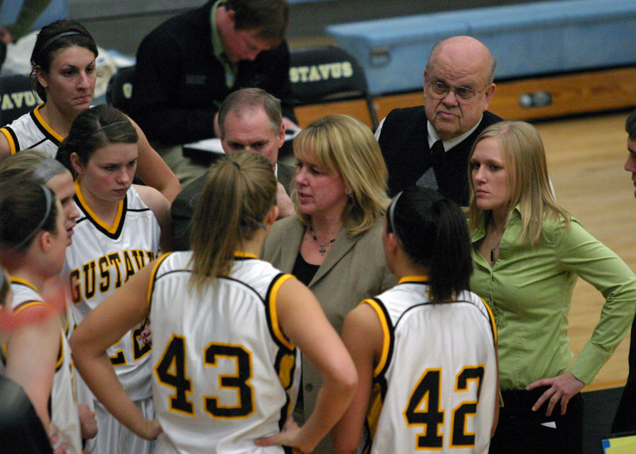 Coach Mickey Haller talks to her team during a 30-second timeout.