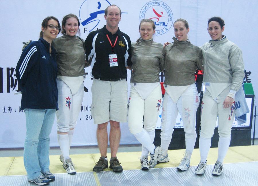 Kyle Momsen with the U.S. women's saber fencing team.