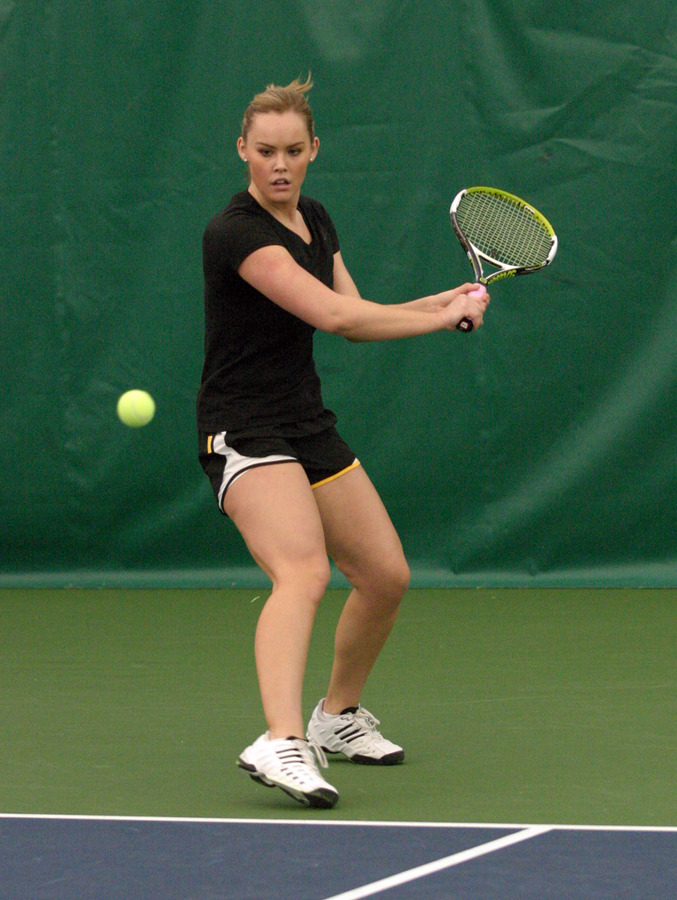 Megan Gaard prepares to hit a backhand.
