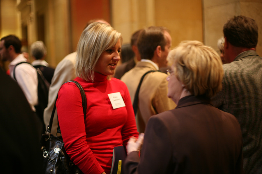 Gustavus Senior Briana Lindenberg talks to her hometown legislator Patti Fritz