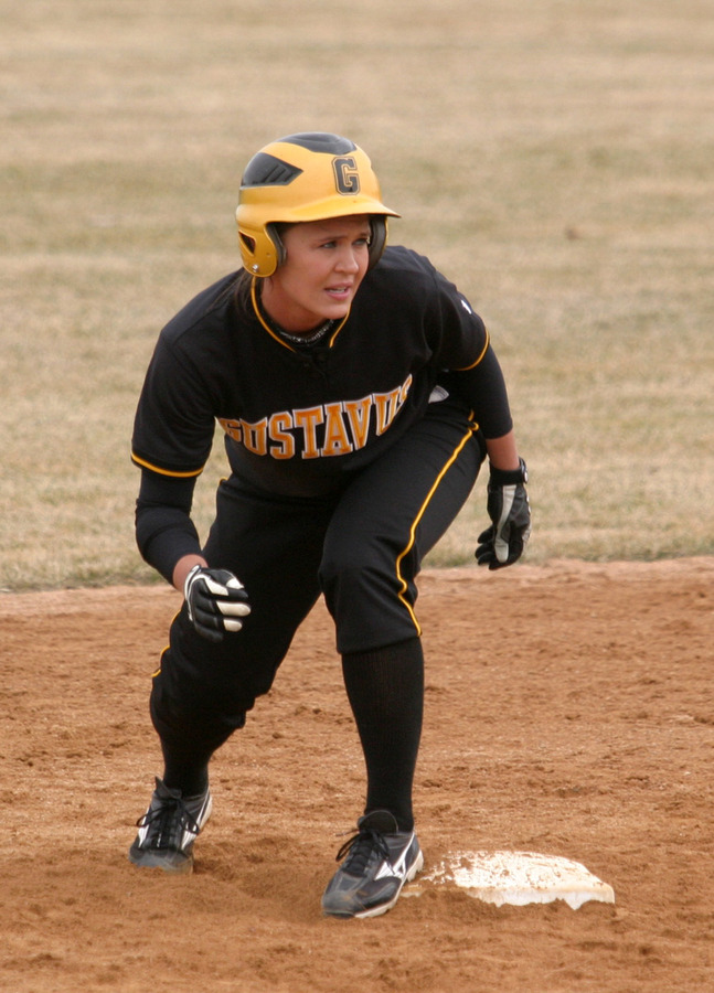 Emily Klein, shown here on second base, set a school record with seven RBI in the second game.