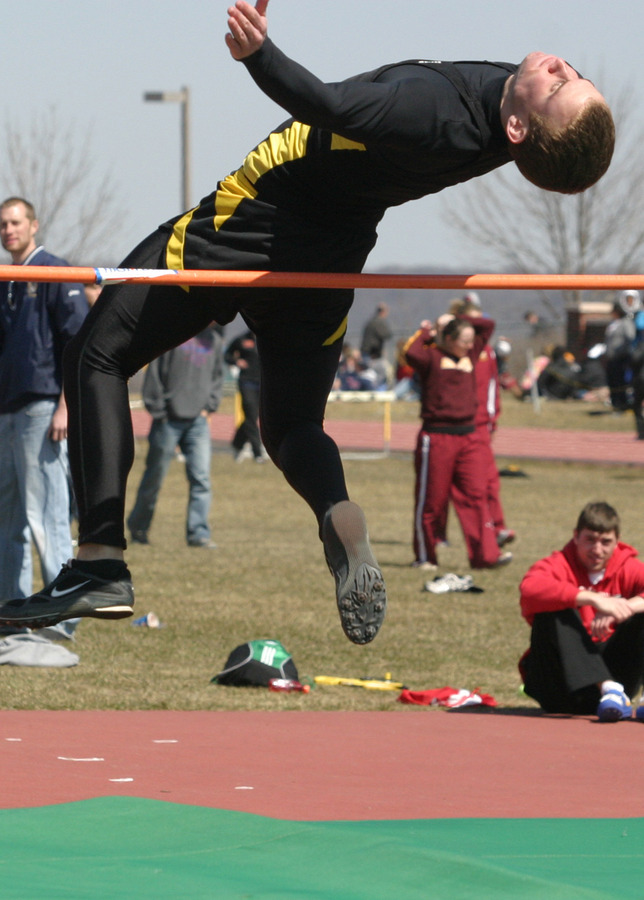 Chris Golv looks to clear the high jump.