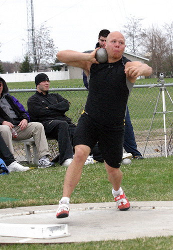Brian Anderson prepares to throw the shot put.