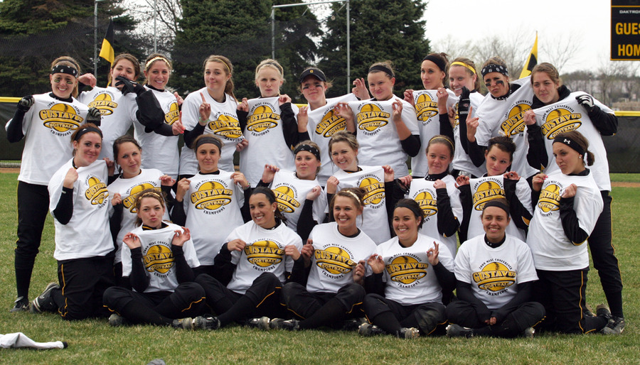 The Gusties celebrate the third MIAC Title in the program's history.