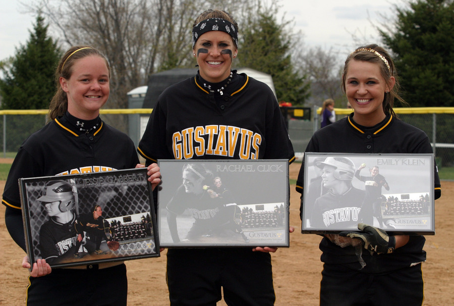 Seniors Jessie Gabbert, Rachael Click, and Emily Klein were honored between games of the doubleheader.