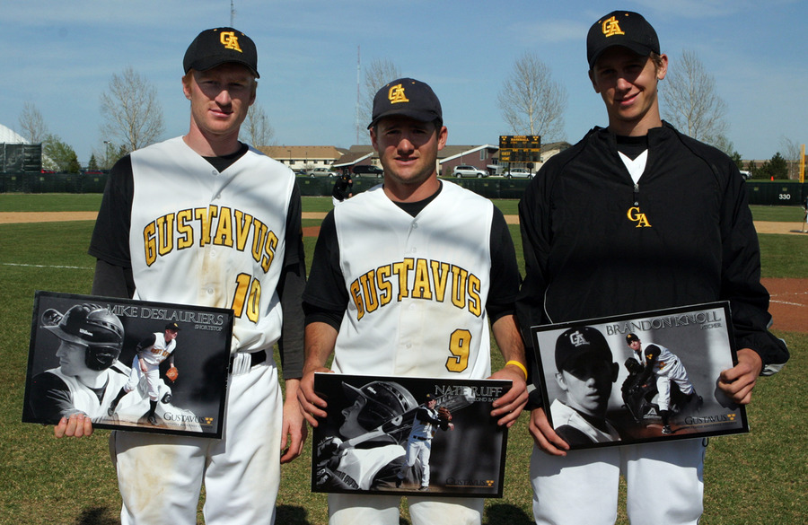 Mike DesLauriers, Nate Ruff, and Brandon Knoll were honored between games on Senior Day.