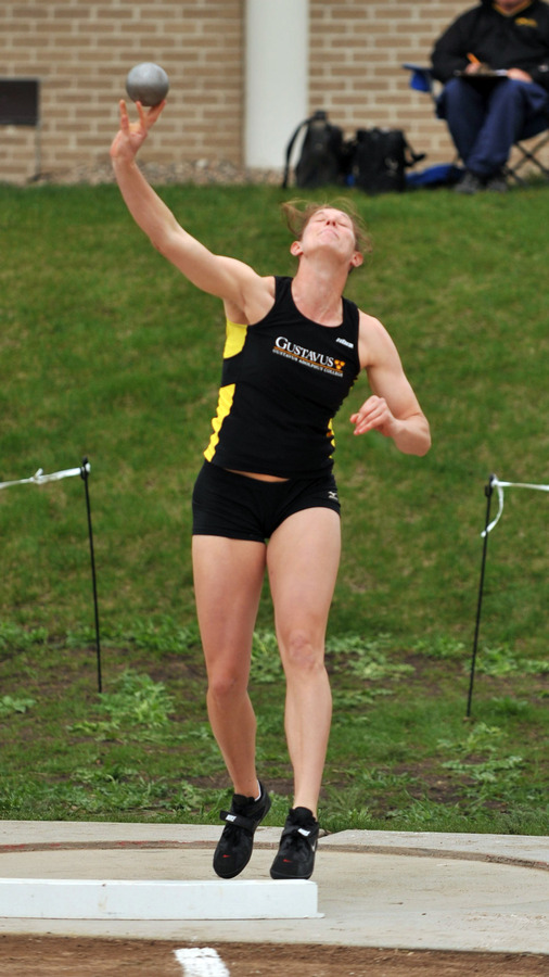 Kaelene Lundstrum is in first place in the MIAC Heptathlon after the first day. (Carleton Sports Information)