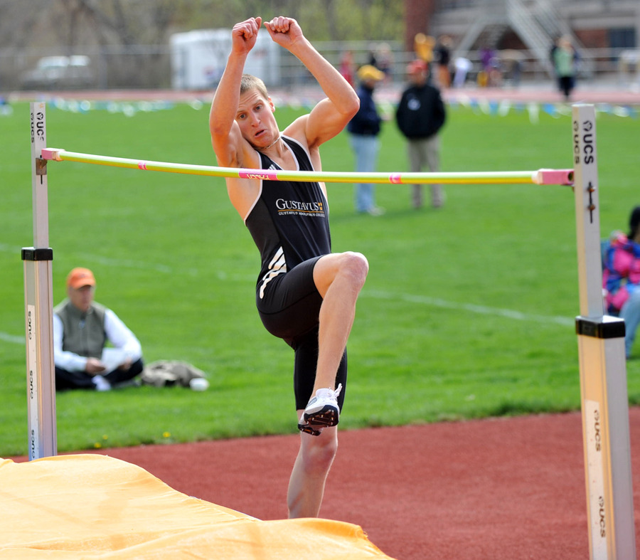 Sophomore Carl Stenoien takes off during the high jump. (Carleton Sports Information)