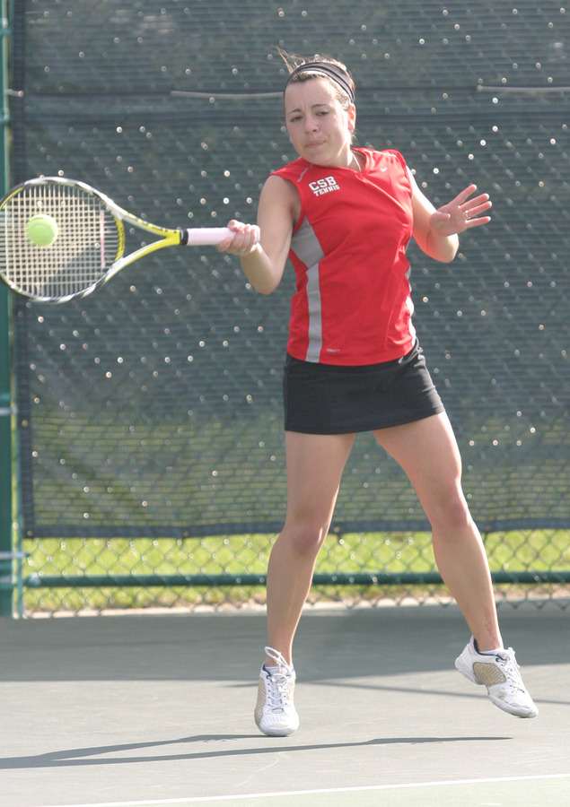 Kylie Huether won her match at #2 singles to send Saint Benedict into the semifinals.