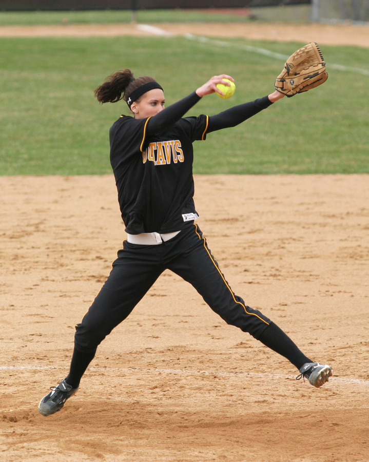Erin Truebenbach leads the team in victories on the mound with 14.