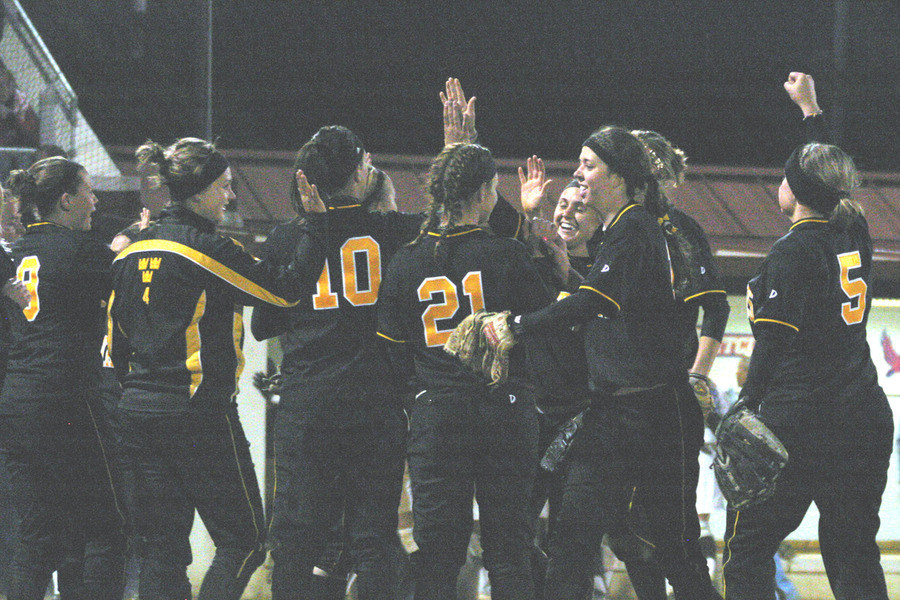 The Gusties celebrate after closing out the 5-0 win.