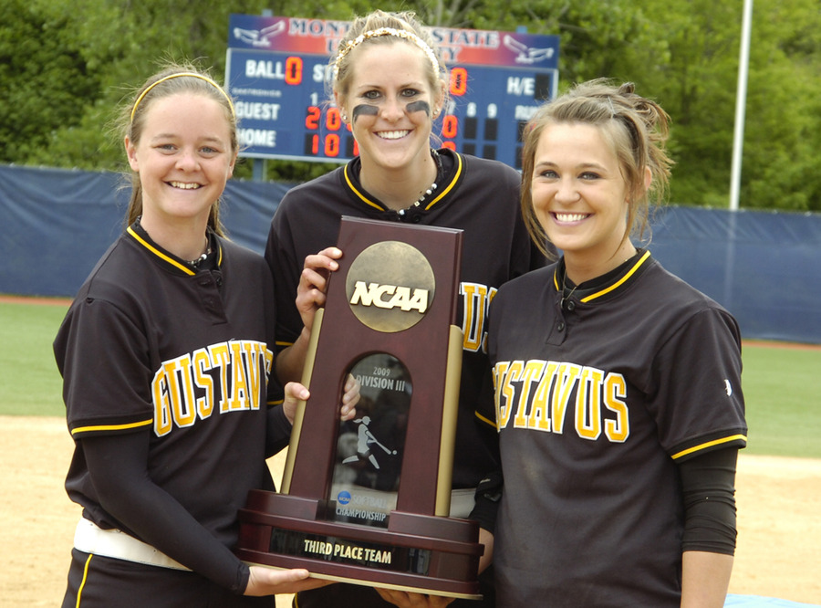 Seniors Jessie Gabbert, Rachael Click, and Emily Klein with trophy.