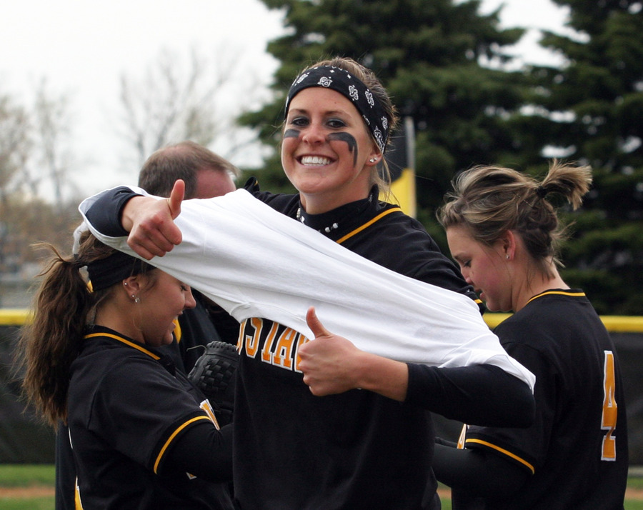 Click celebrated with the team after winning the MIAC title.