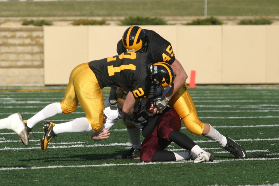 Welch making a tackle versus Concordia last season.