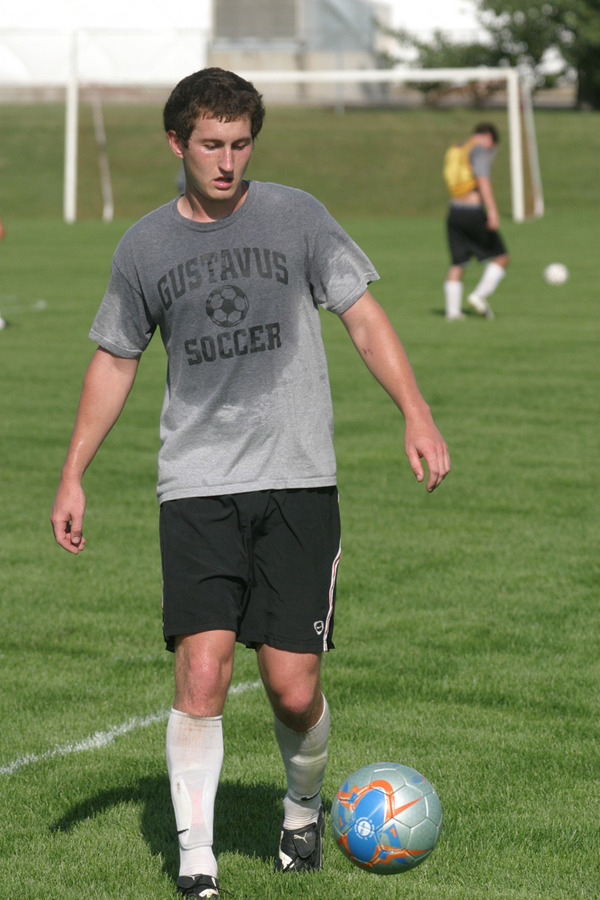 Senior captain Fraser Horton works a good sweat during a drill.
