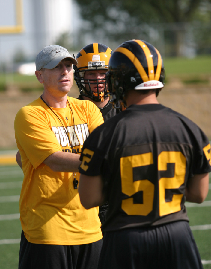 Defensive coordinator Brian Bergstrom working with his squad.