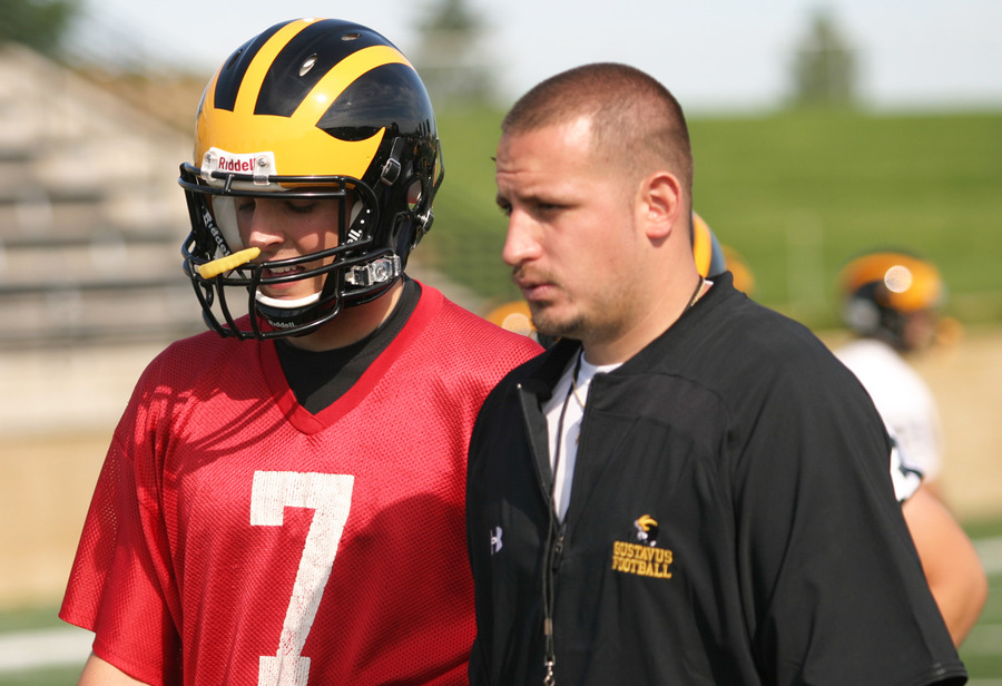 Offensive coordinator Ryan Galindo calls a play for senior quarterback Jordan Becker.