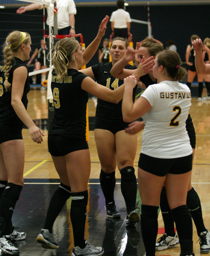 The Gusties celebrate after a point against Martin Luther.