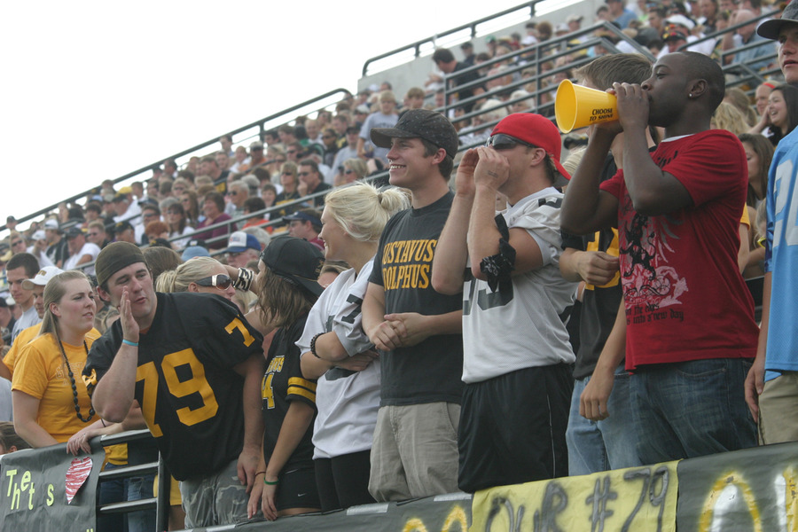 A boisterous crowd of 2,200 cheered for the Gusties on a warm fall day.
