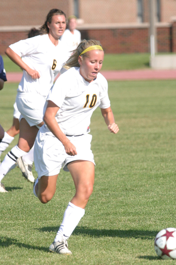 Ashley Anderson pushes the ball up the field for the Gusties.