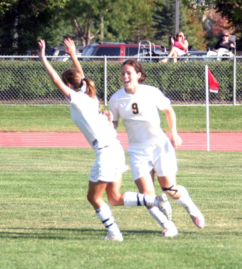 Becca Hagen celebrating after scoring the first goal of the game.
