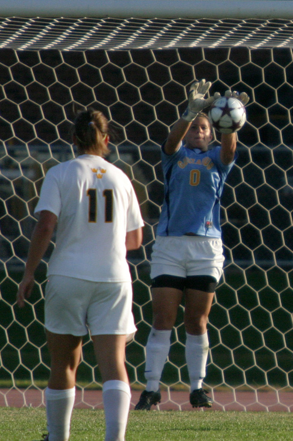 Chelsea Bayer making one of her eight saves on the day.