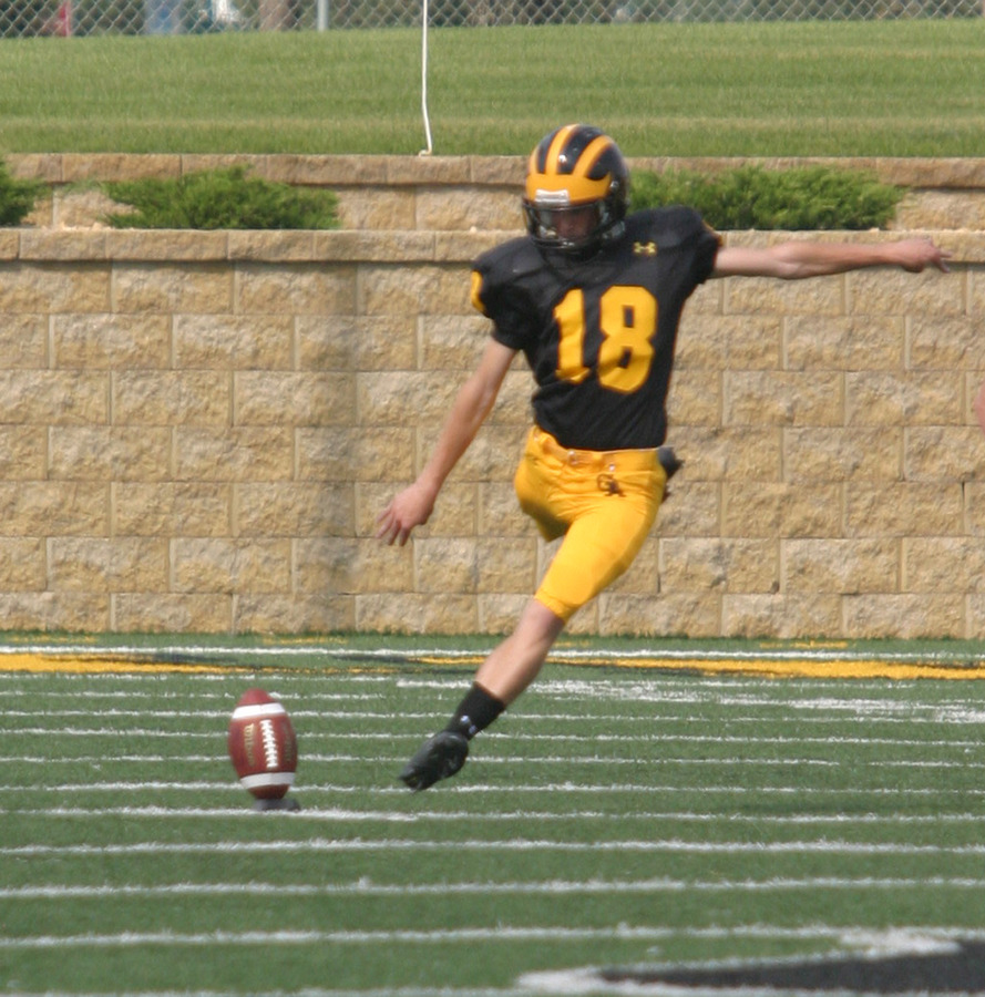 Freshman kicker Tom Huepenbecker had a big game with a 27-yard FG, a successful onside kick and three PAT's.