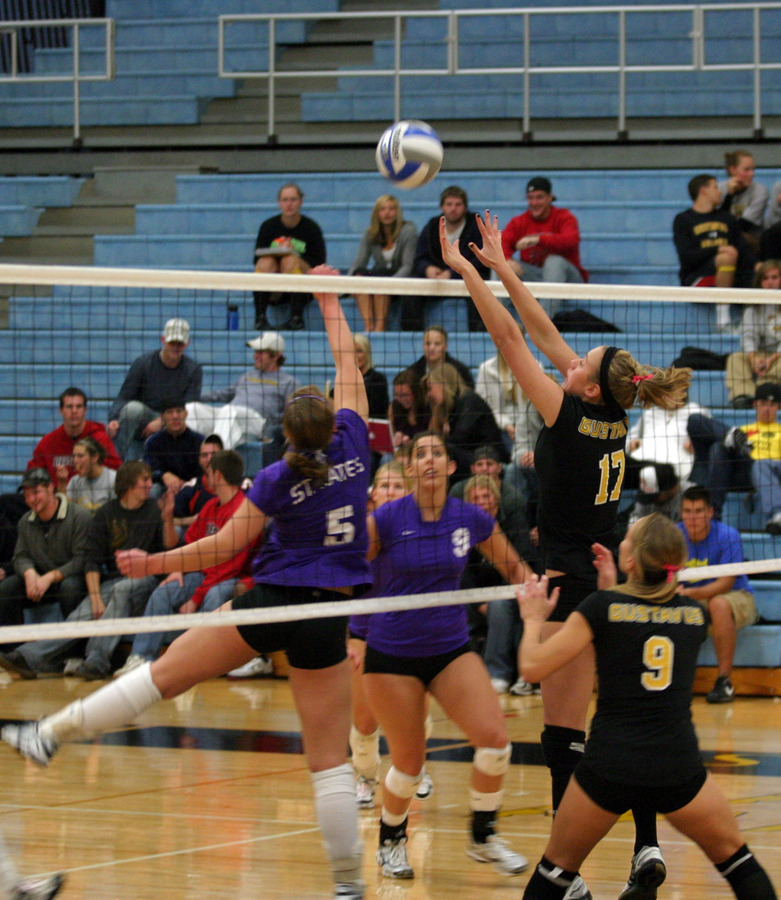 Emily Phillips goes up for a block attempt.