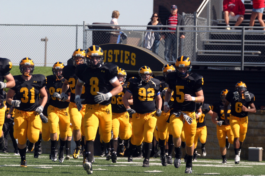 The Gusties charging out on to the field prior to the Saint John's game.