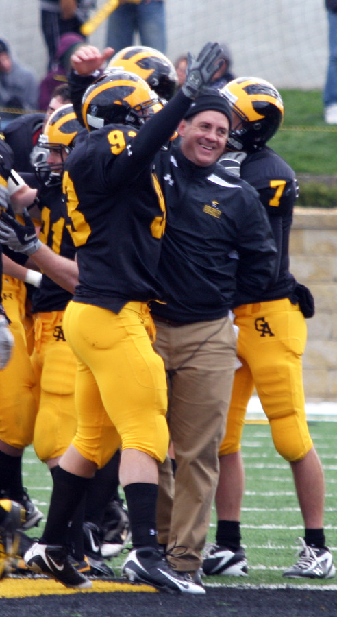 Coach Haugen celebrates after one of the Gusties five touchdowns.