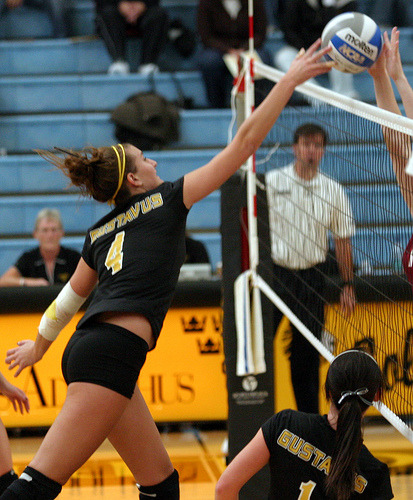 Angela Ahrendt makes a play at the net.